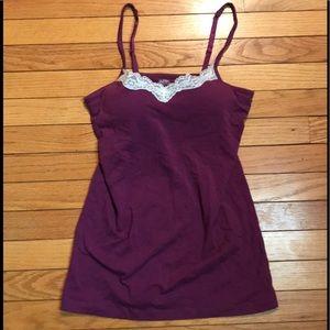 Sleep tank cami bra purple pajama top gilligan Med